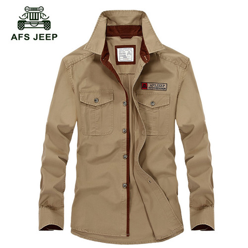 Hot sale AFS Jeep Men Long Sleeve Shirt Cotton Fall Business Breakout Casual Long Sleeve Shirt Free Shirt plus size S-4XL Z78