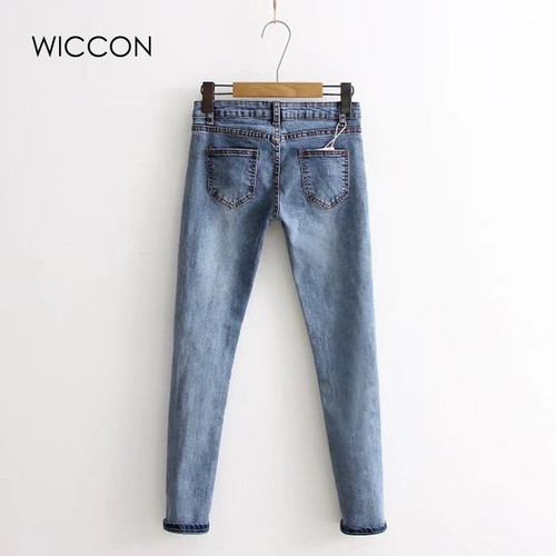 WICCON Knee Hole Ripped Jeans 2018Women Stretch Denim Pencil Pants Casual Slim Fit Rivet Pearl Jeans Sweet Autumn Long Trousers