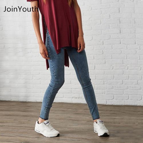 JoinYouth Women's Slim Vintage Denim Trousers Dark Blue Jeans Casual Stretch Skinny Female High Waist Elastic Pants Plus Size