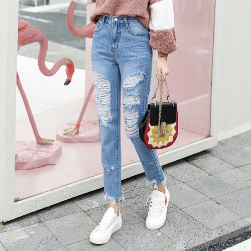 CTRLCITY Slim Hole Ripped Jeans for Women High Waist Denim Plus Size fashion Pants Blue Casual Design ladies Pencil Trousers