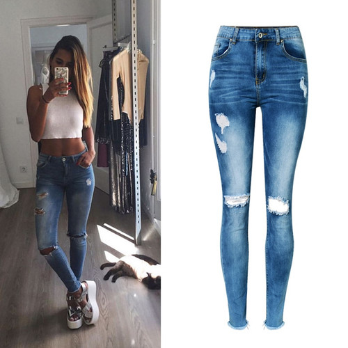 2018 High Waist Women Jeans Tassles Women Ninth Denim Pants Skinny Jeans For Women Pencil Pants Female Ripped Jeans For Women
