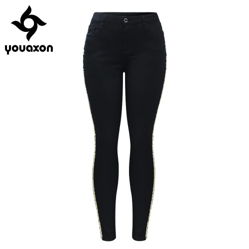 2151 Youaxon New Arrived Black Jeans With Golden Side Stripe Woman Stretchy Denim Skinny Pencil Pants Trousers For Women