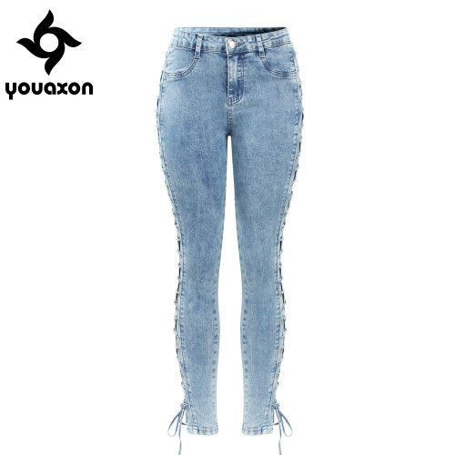 2134 Youaxon New Lace Up Jeans Woman Plus Size Stretchy Denim Skinny Pants Trousers For Women Jeans
