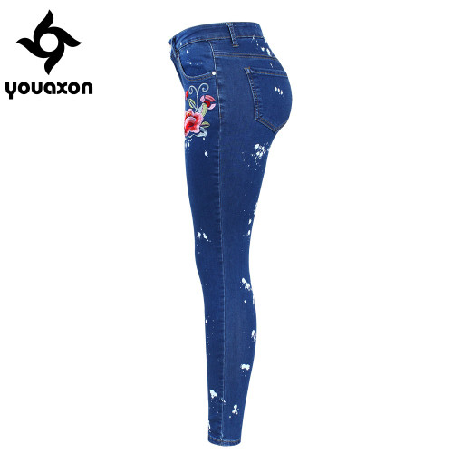 2108 Youaxon Plus Size Floral Dirty Jeans With Embroidery Flower Women Stretchy Denim Pants Trousers For Woman Skinny Jeans