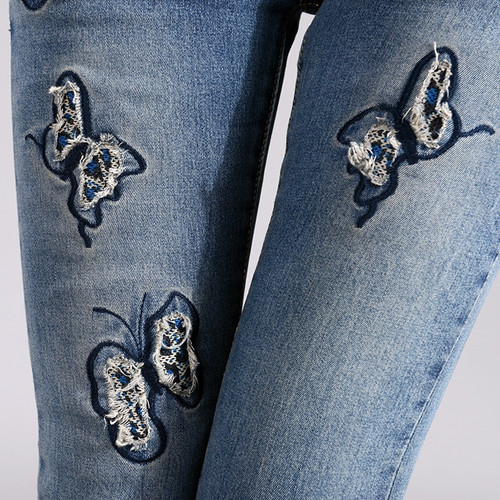 2018 Summer Fashion Pencil Denim Jeans Women Butterfly Embroidered Jeans Female Blue Casual 25-36 Pants Capris Y253