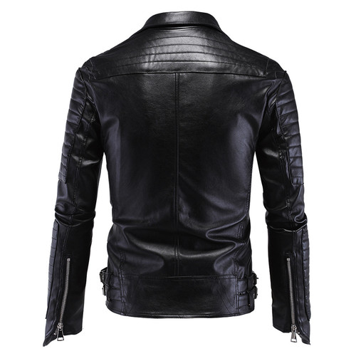 Vogue Anmi.Leather Jacket Men Turn-down Collar Jaqueta De Couro Masculina PU Mens Leather Jackets Skull Punk Veste Cuir Homme