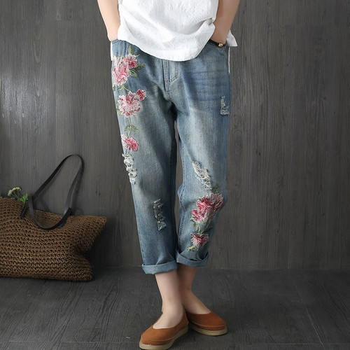 Flower Embroidery Jeans Women Blue High Waist Casual Loose Harem Denim Pants 2019 Fashion Vintage Summer Ripped Hole Jeans F256