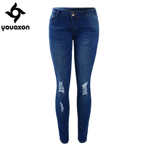 1884 Youaxon Women`s High Street Ripped Knees Strech Low Rise Denim Pencil Skinny Pants Trousers Femme Jeans For Women