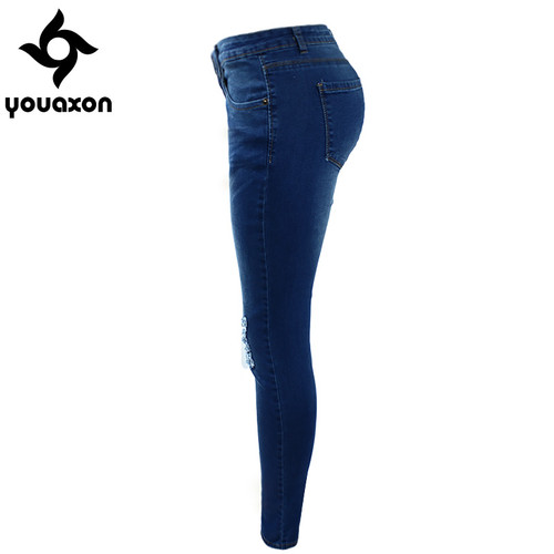 1884 Youaxon Women`s High Street Ripped Knees Strech Low Rise Denim Pencil Skinny Pants Trousers Femme Jeans For Women