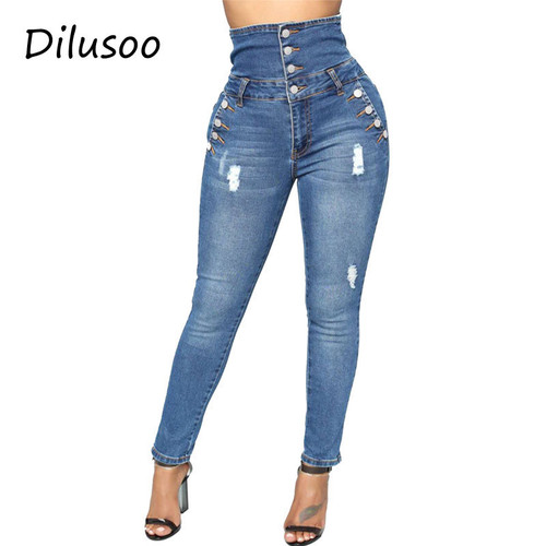 Dilusoo High Waist Women Jeans Pants Skinny Elastic Button Pencil Pants Europe Ripped Woman Casual Spring Jeans Female Trousers