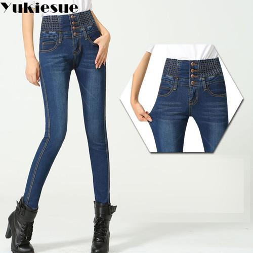 Simple jeans woman high elastic waist 2017 winter warm skinny push up jeans women denim pencil pants female jeans large size
