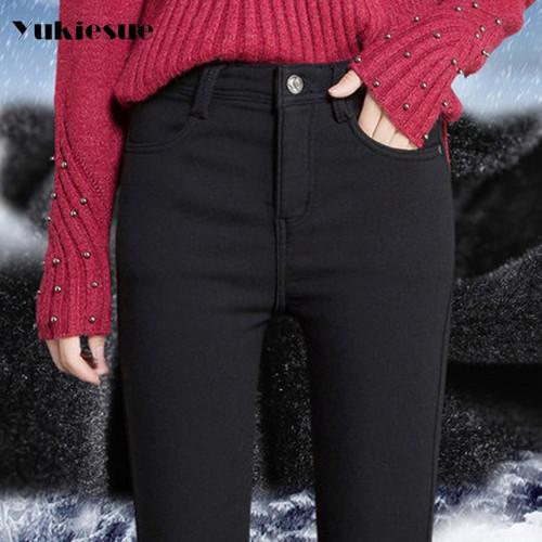 2017 winter warm jeans woman high waist candy color skinny slim denim pencil pants female jeans Plus sie 25-34 jeans femme mujer