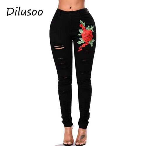 Dilusoo Women Embroiderey Jeans Pants Holes Denim Pencil Pants Women's Casual 4 Season Jeans Female Elastic Ripped Trousers 2018
