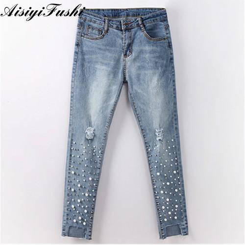Ripped Capris Jeans Jeggings Skinny Stretchy Ladies Denim Pearls Jeans Tassels High Waist Casual Denim Pants Female Streetwear
