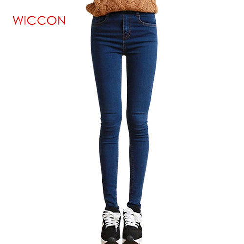 WICCON New Solid High Waist Jeans Women 4 Seasons Skinny Denim Pencil Pants Casual streetwear High Elastic  jeans Woman 2018