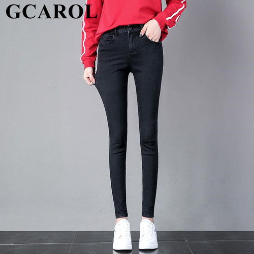 GCAROL 2018 New Collection Women Pencil Denim Pants High Waisted High Street Slim Basic Jeans In 3 Colors Plus Size 25-32