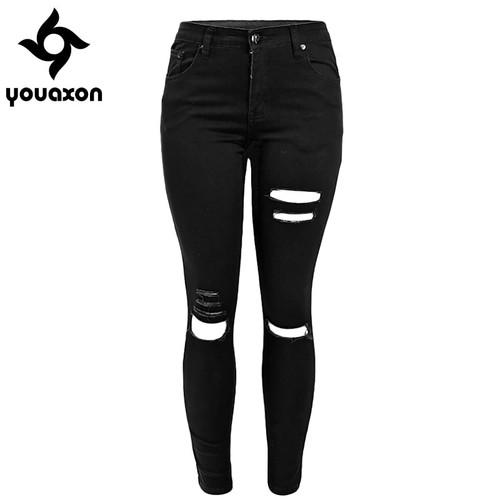 1878 Youaxon Women`s Celebrity Ripped Stretch Black Destroyed Skinny Denim Pants Trousers Ferminio Jean Jeans For Women
