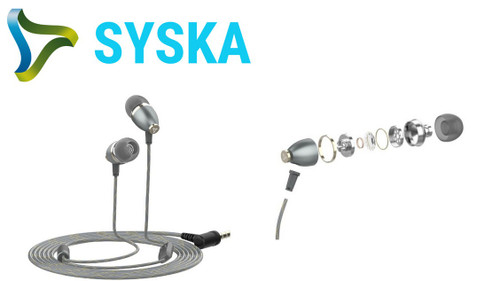 Syska Ultra Bass Earphones - HE2500-BK