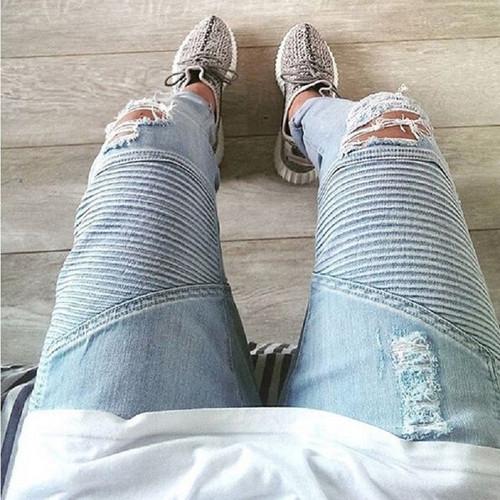 QoolXCWear  mens Strech ripped biker jeans skinny light blue Distressed kanye west designer brand hip hop streetwear swag pants