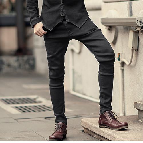 2018 Men black stretch jeans trousers zipper slim Mens casual long pencil pants skinny cotton fashion brand design winter new