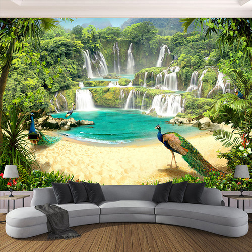 Custom 3D Wallpaper Murals Waterfall Peacock Lake Landscape 3D Effect Living Room Sofa TV Background Wall Mural Photo Wall Paper