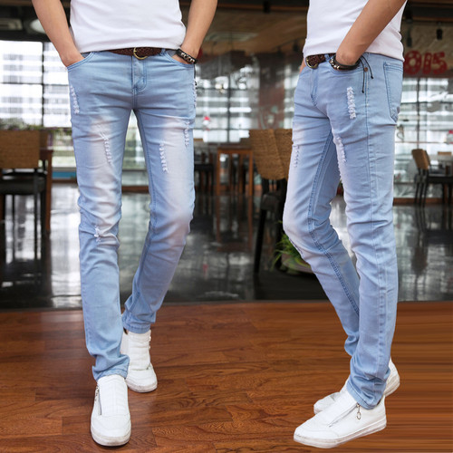 2016 Spring and Summer New Men's Jeans Pant Korean Style Influx Sky Blue Casual Trousers Cool Stretch Man denim Pants male 28-34