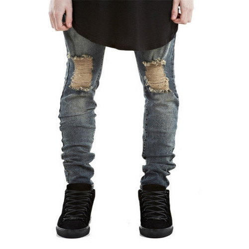 2017 Summer Fashion Ripped New Biker Slim Jeans Motorcycle Style Elastic Men Jeans Slim Fit Washed Pants  Destroyed Men Pant