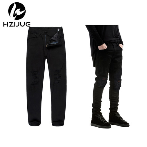 HZIJUE 2018 New Black Ripped Jeans Men With Holes Super Skinny Famous Designer Brand Slim Fit Destroyed Torn Jean Pants For Male