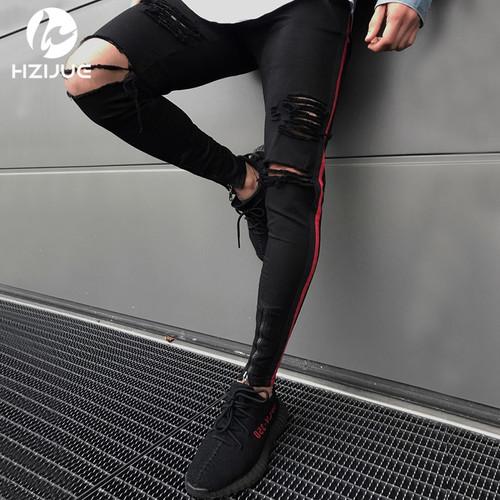 HZIJUE men HIP HOP skinny motorcycle denim pants zipper designer black jeans mens pantalones vaqueros hombre casual jeans men