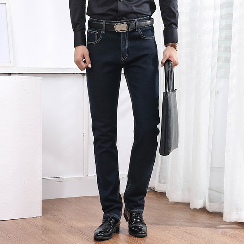 Men's Jeans winter Warm Thickening Stretch Denim Jeans mens Slim Fit Trousers Pants Jeans men Straight Cotton Blue Jeans male