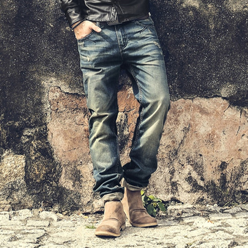 Fashion Vintage Mens Ripped Jeans Pants Slim Fit Distressed Hip Hop Denim pants new spring men black stretch jeans pants