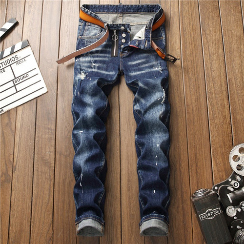 European American Style famous brand mens jeans luxury Men straight denim trousers zipper Patchwork Slim blue jeans for men