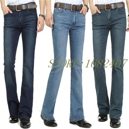 Free Shipping Men's Business Casual Jeans Male Mid Waist Elastic Slim Boot Cut Semi-flared Four Seasons Bell Bottom Jeans 26-36
