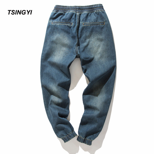 Tsingyi Denim Stretch Elastic Waist Jeans Men Blue Cargo Drawstring Harem Jeans Homme 100% Cotton Plus Size Full Length Pants