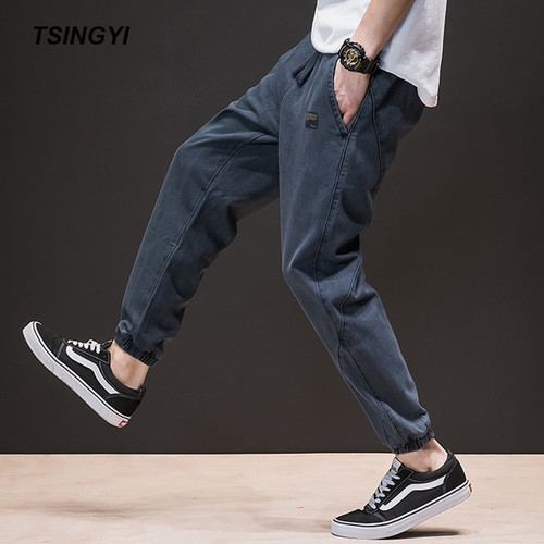 Tsingyi Spring Summer Japan Style Do old Wash Denim Jeans Blue Black Mens joggers Hip Hop Drawstring Plus size Men's Harem Pants