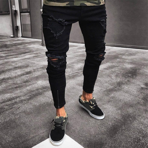 2018 men's new jeans men's hole elastic zipper feet jeans Men Slim Biker  Denim Jeans Skinny Frayed Pants Distressed Rip jeans