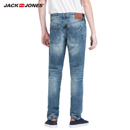 JACK&JONES Brand 2018 NEW younger  mid-waist straight casual full length zipper fly fashion distressed hole men jeans|215132012