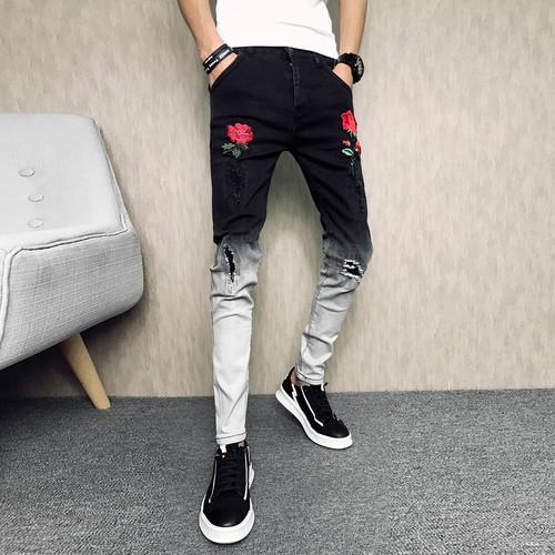 New Arrival Men's Rose Embroidered Slim Jeans Patchwork Fashion Hole Hit Color Jeans Pencil Pants