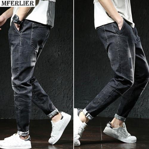 MFERLIER plus size jeans Hipster pants men big size 6XL 7XL 8XL 9XL 10XL long pants casual large 44 46 48 Elasticity summer blue