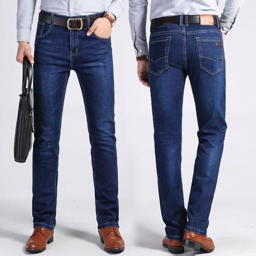 jantour Autumn winter Thick Men's Elastic Jeans casual Business Classic Style Jean Denim Pants 73%cotton Trousers Male 35 40size