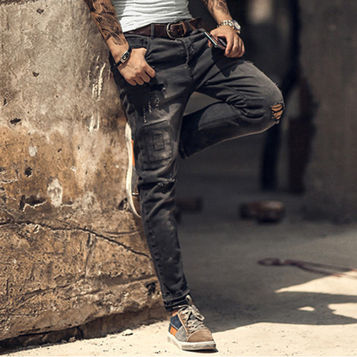 2018 spring summer new style men's casual ripped holes pants jeans men's black retro England style washed button slim jeans