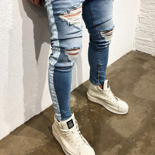 KANYE WEST Destroyed Knee Hole Side Zipper Slim Distressed Jeans Men justin bieber Ripped tore up Jeans For Men stripe pants