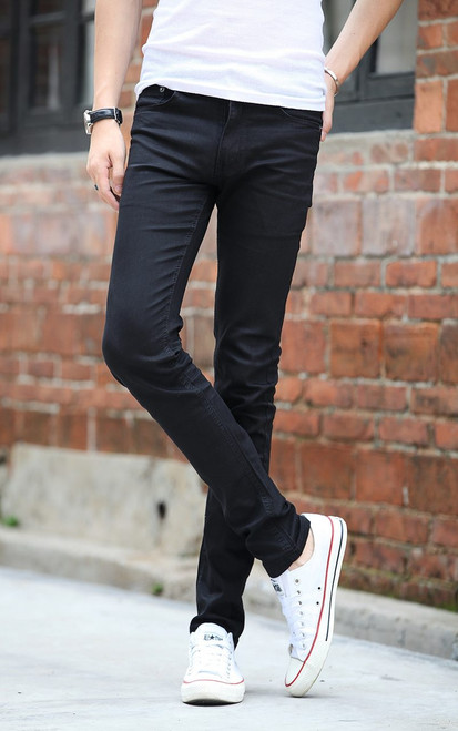 Mens tight stretch pants Slim Jeans autumn fashion cowboy skinny pencil pants homme casual jeans black demin trousers size 27-42