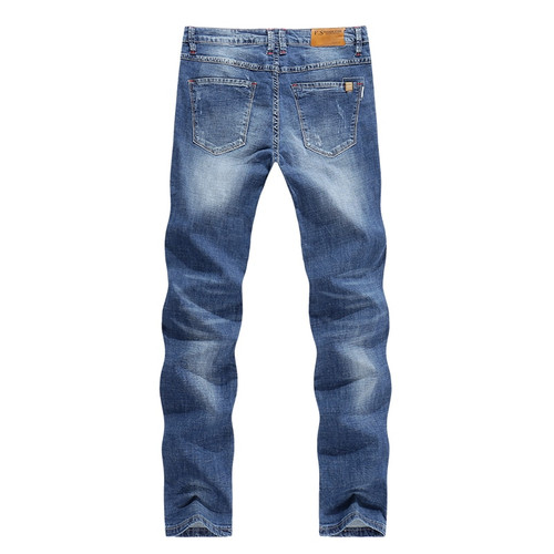 KSTUN 2018 Men Jeans Business Casual Thin Summer Straight Slim Fit Light Blue Jeans Stretch Denim Pants Cowboys Young Man Homme