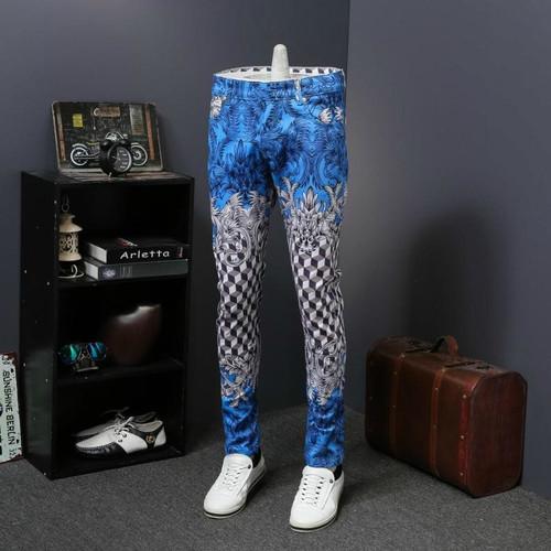 Pattern Designer Jeans Denim Pant Men Slim Fit Full Length Men Trousers Moda Hombre 2018 Erkek Kot Pantolon Royal Printed Jeans