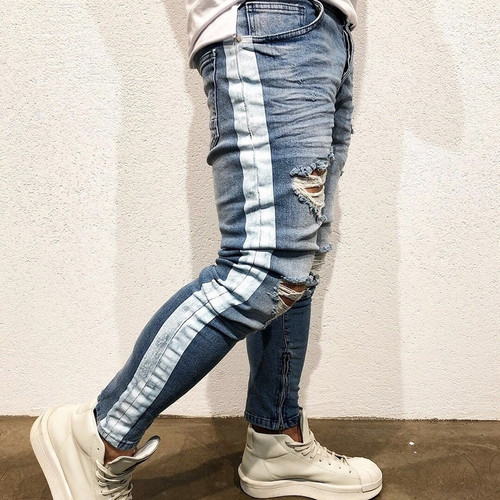 New Ripped Holes Men Jeans Side Striped Blue Jans Men Zipper Hip Hop Jeans Skinny Biker Jeans