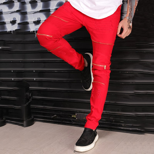Gersri Trendy Men Jeans Red Color Casual Trousers Leisure Hole Men's Jeans Vintage Skinny Ripped Hip Hop Swag Man Jeans