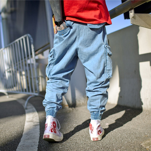 AELFRIC Harem Pants Men Side Pockets Cargo Sweatpants Cotton Denim Jean Trousers Elastic Waist Hip Hop Skateboard Joggers UR12
