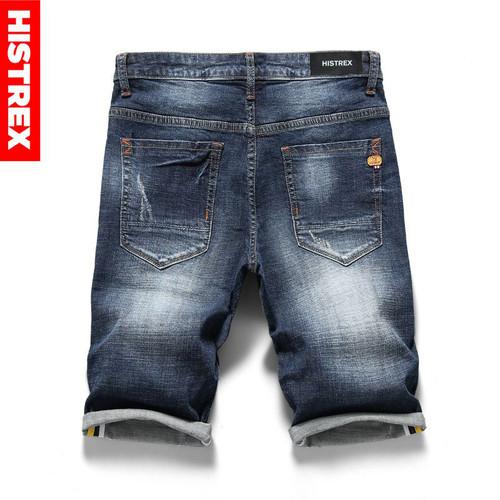 HISTREX Blue Men Jeans Shorts Summer Classic Regular Pants Stretch Mens Short Straight Skinny Homme Denim Ripped Jean #HJR9W
