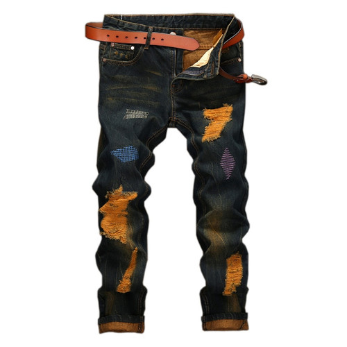 2017 New Color Embroidered Ripped Men Punk Jeans Denim Skinny Jeans Men Classic Hole Rap Hip Hop Skinny Designer Jeans Trousers